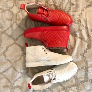 Del Toro Chukka Quilted Sneakers in Red or White